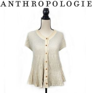 Anthropologie Moth Short Sleeve Eyelet Cardigan M